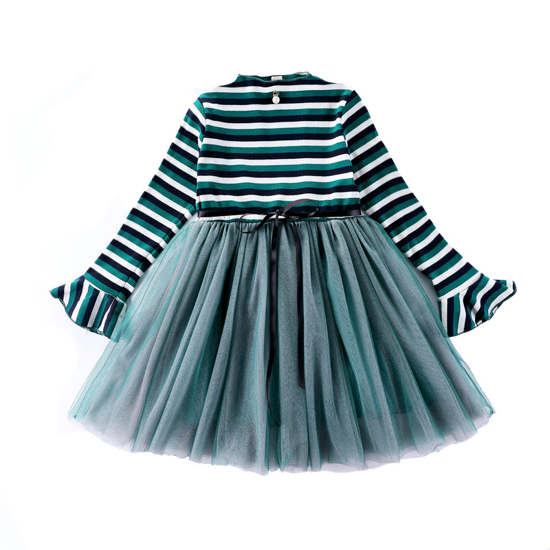 4-12Years Kids Girls Knitted Long Sleeve Striped Tutu Dress Autumn Winter Casual Cotton Children Dresses Girl Party Dress CA132 kids girls flamingo a line dress bady girl mini dress cotton casual short sleeve striped print dress kid robe children vestidos