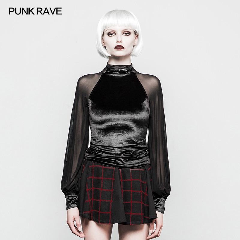 PUNK RAVE Femmes Gothique Velours Maille T-shirt Mode Punk Club Fête Sexy hauts Style Coréen Femmes Belle hauts Chemise