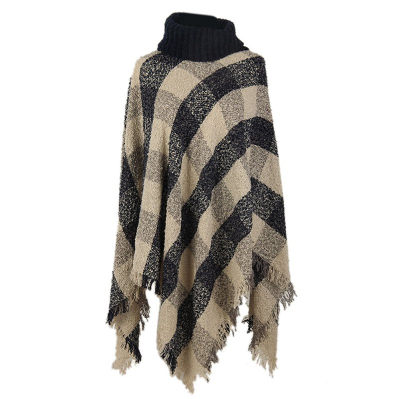 Women Poncho Knit Turtle Neck Sweater Ethnic Fusion font b Tartan b font Knitted Coat Outwear