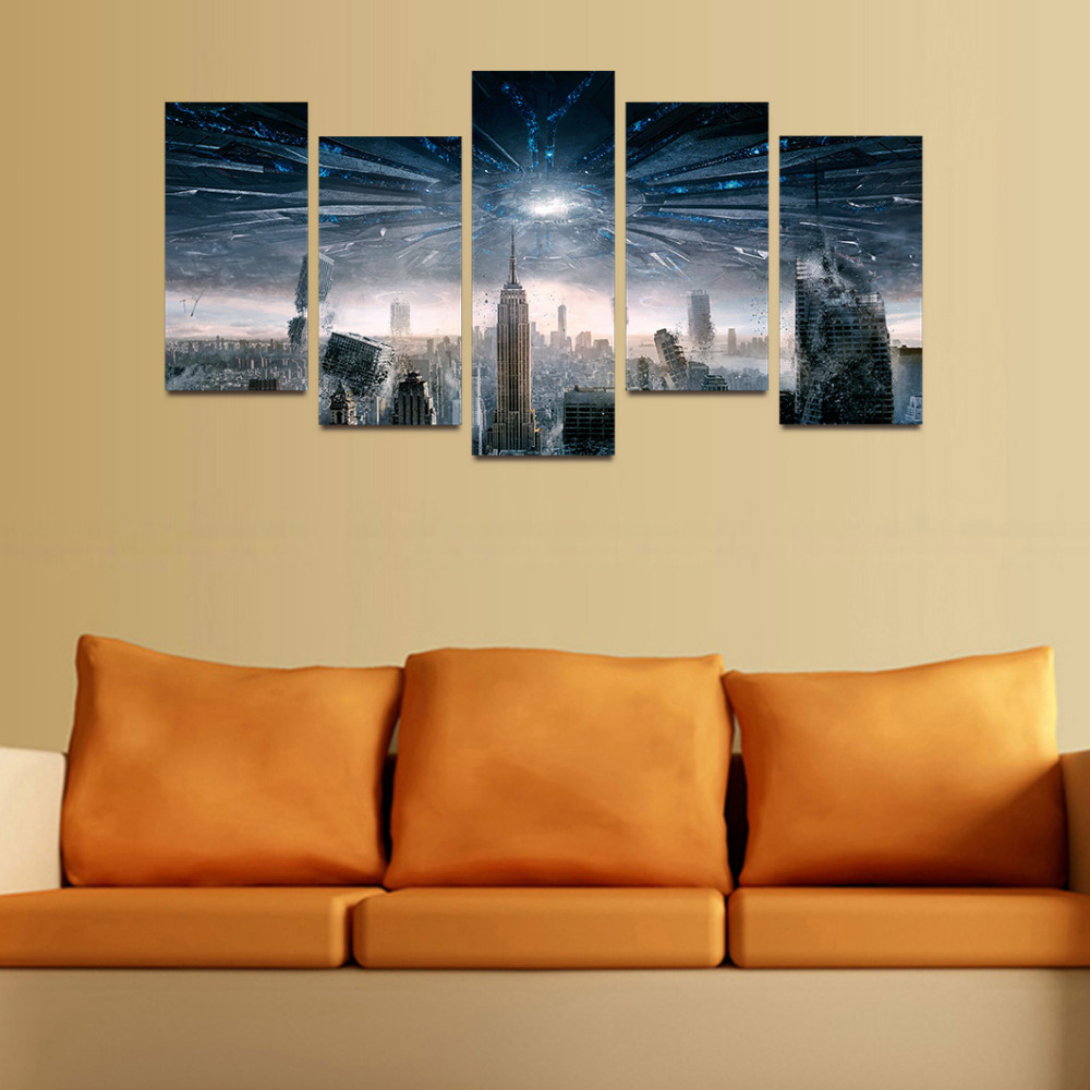 Original Oil Ink Canvas Print UFO Destroy NewYork City Painting On ...