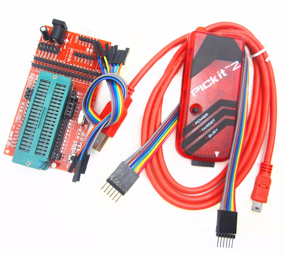 pickit2 Programming / emulator + PIC microcontroller / minimum system board / development board / universal programmer seat pic microcontroller development board the experimental board pic18f4520 including pickit2 programmers excluding books