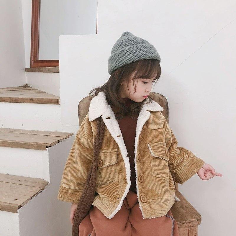 Corduroy Baby Girl Jacket Coat Autumn Fleece Coat Kids Little Boys Clothes Winter Jacket Yellow Pink Outerwear Clothing 2018 New