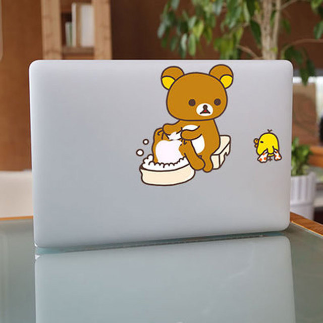 Cartoon bear rilakkuma wash clothing vinyl decal laptop stickers for apple macbook pro air 11