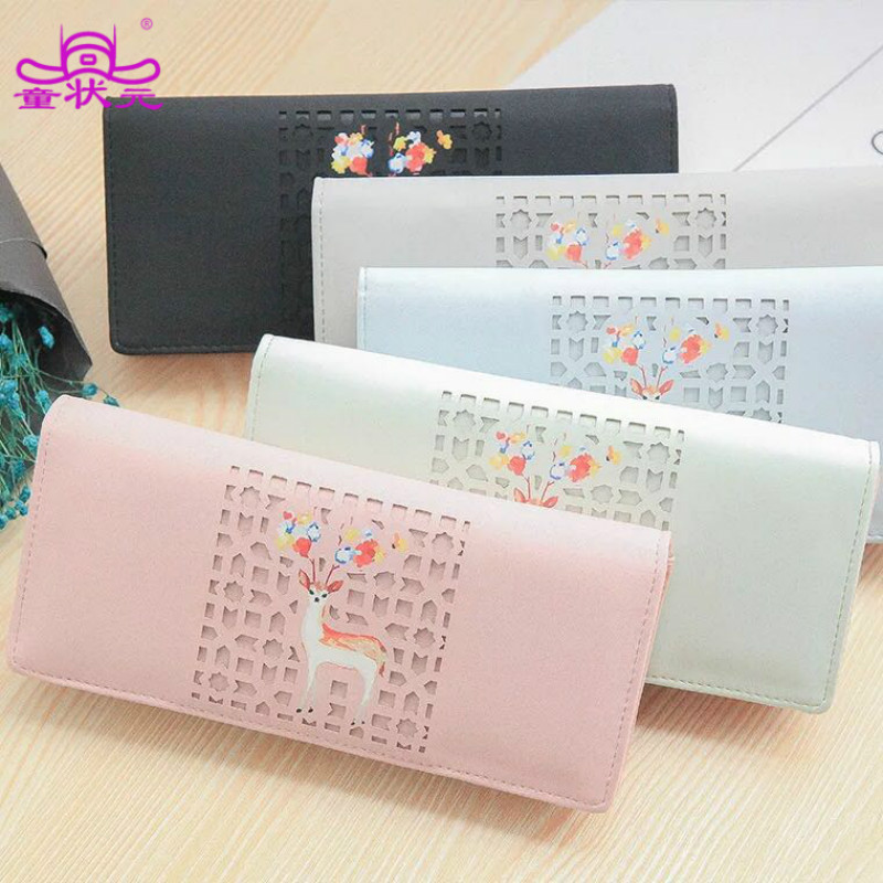 TZY Female Wallet Women Purse Long Zipper Solid Lady Candy Color Christmas Deer Hollow PU Leather Minimalist Card Holder
