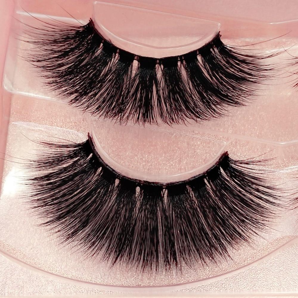 2 Pairs/Box Mink Lashes 3D Mink False Eyelashes Long ...