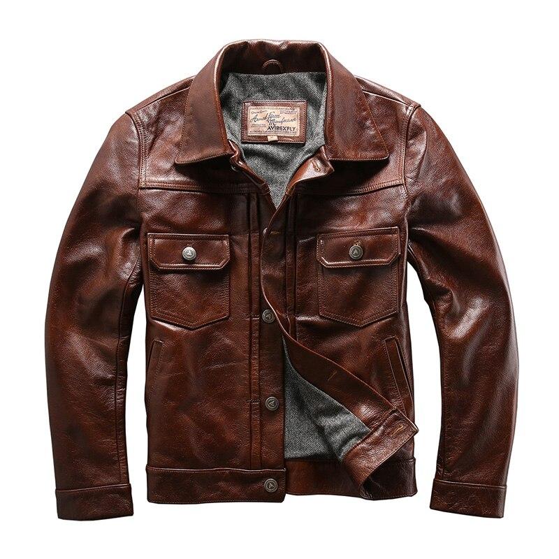 genuine cow skin leather jacket mens casual vintage biker jacket 507XX