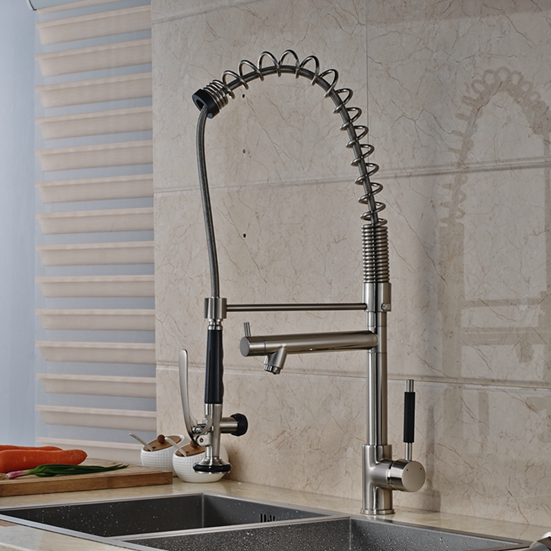 Solid Brass Nickel Brushed Kitchen Faucet Dual Spouts Vessel Sink Mixer Tap NEW chrome kitchen sink faucet solid brass spring two spouts deck mount kitchen mixer tap