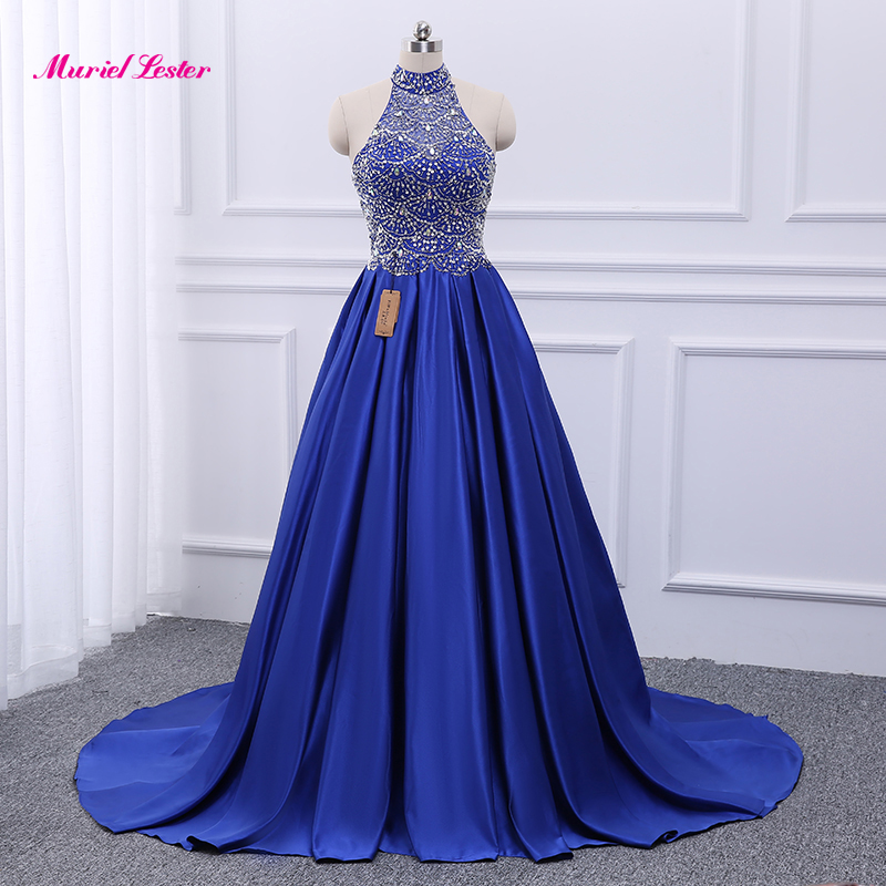 Robe De soirée or/bleu Royal Satin une ligne robes De soirée travail manuel perles Robe De soirée sur mesure Robe formelle robes De bal