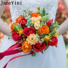 JaneVini Vintage Artificial Flowers Roses Wedding Bouquets Red Orange Bridal Brooch Bouquets Brides Fleur Artificielle Mariage