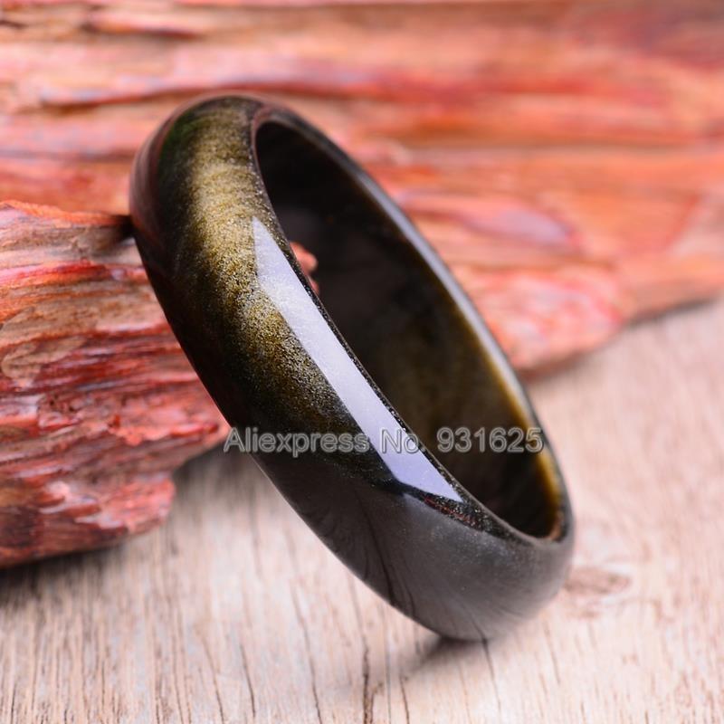 Beau Bracelet obsidienne en or naturel de 15-20mm de large Bracelet chanceux fait main bracelets pour femme et homme 58-60mm