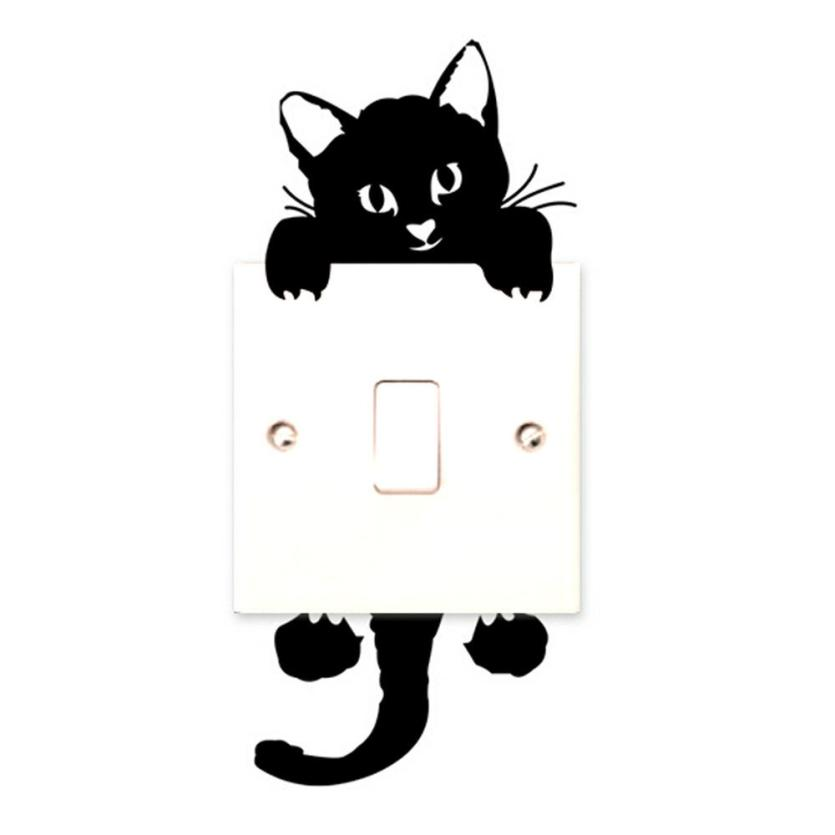 2017 DIY Funny Cute Black Cat Switch Decal Wallpaper Switch Sticker Home Decoration Bedroom Kids Room Light Parlor Decor