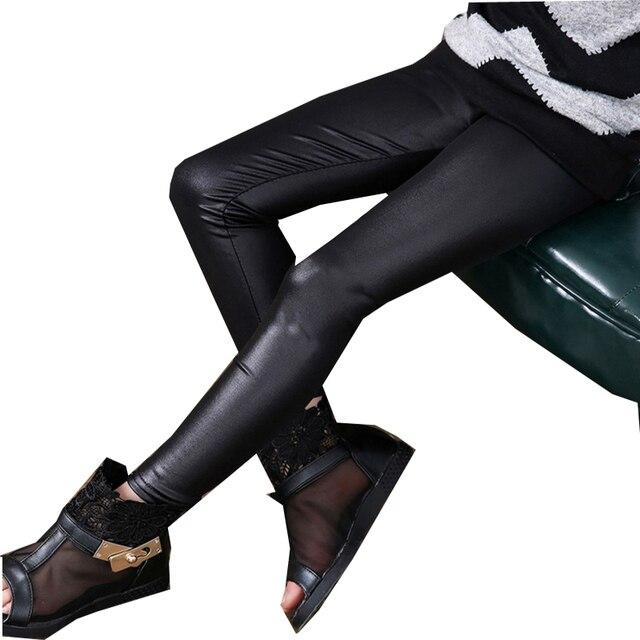 b1a50b33fe01b Girls Faux Leather (Polyester Spandex)Leggings Children Pants Leather Girls  Pants
