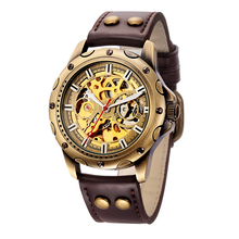 SHENHUA Male Clock Antique Bronze Case Wristwatch Steampunk Skeleton Men's Mechanical Watch Leather Band Relogio Masculino