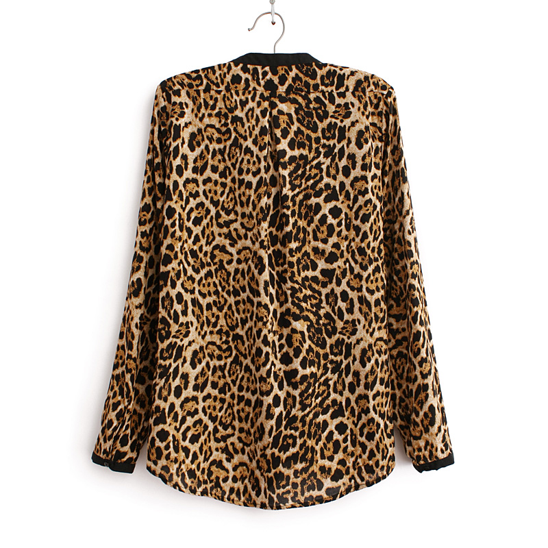 2018 Women Blouse Leopard Print Shirt Long sleeve V -Neck Top Loose Blouses Plus Size Chiffon Shirt Camisa Feminina Clothing
