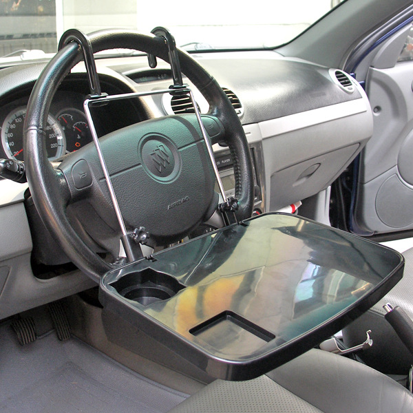 Auto Black Laptop Tray Table Stand Steering Wheel Mount