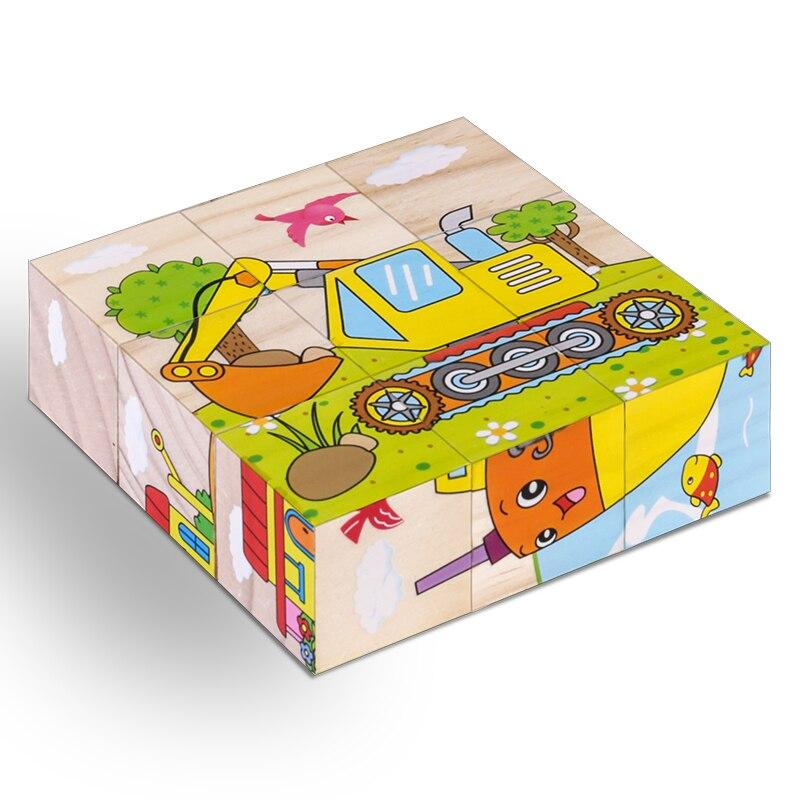 Haute qualité Six-face image en bois Puzzle 3D Puzzle jouets enfants début éducatif jouet Cube Puzzle bébé enfants cadeaux