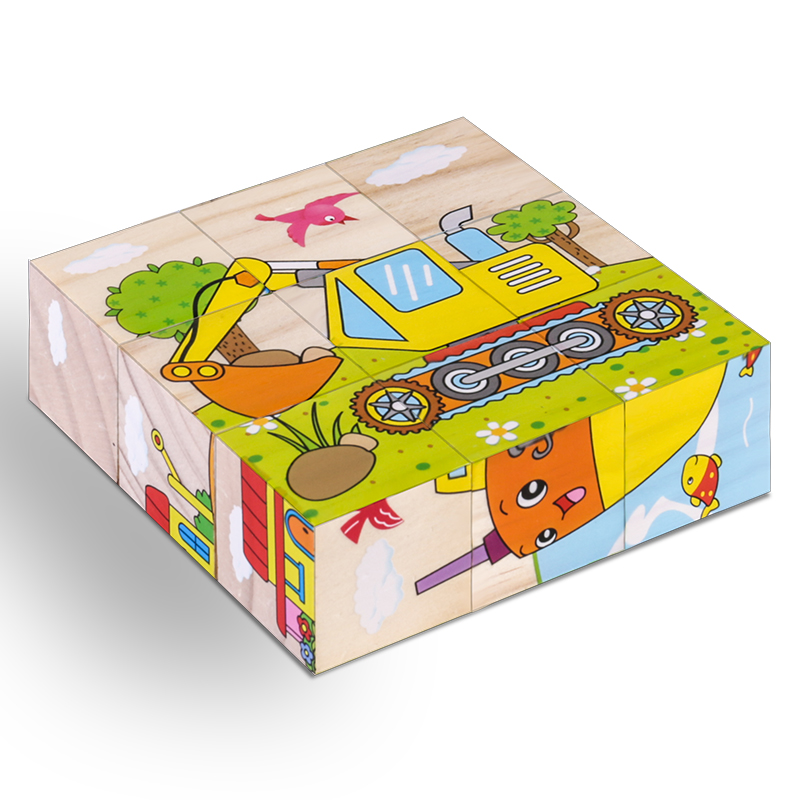 High Grade Six-face Picture Wooden Jigsaw 3D Puzzle Toys Children's Early Educational Toy Cube Jigsaw Puzzle Baby Kids Gifts