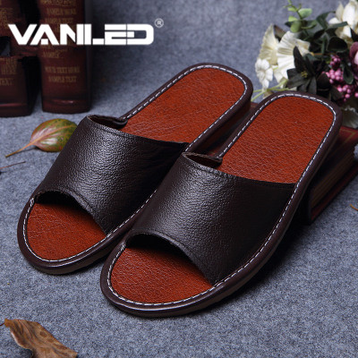 Classic Lovers Leather Slippers for Men Non slip for floor Home Shoes Interior Leather Anti skid