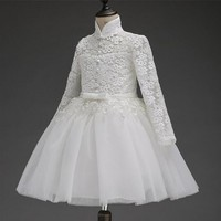 2017 Flower Girl Dress For Wedding Pageant Prom Party White Lace Dress Baby Kids Clothes Toddler