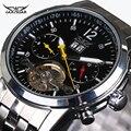 Marca de luxo Banda de Aço Mecânico automático Calendário Turbilhão Relógios Mens Relógios de Pulso Jaragar militar assistir à prova d' água