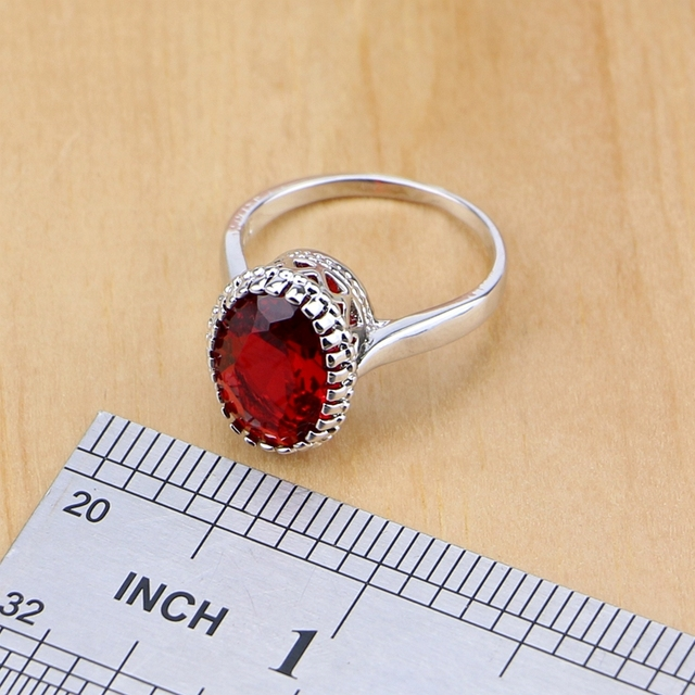 Mystic Rosso Zircone 925 Sterling Silver Jewelry Set Per Le Donne Accessori Da Sposa Orecchini/Pendente/Collana/Anelli