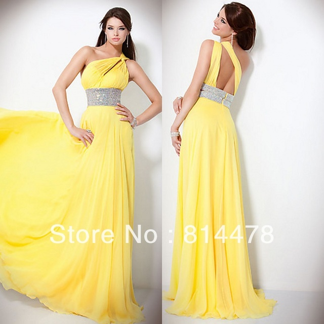 Free shipping chiffon beaded one shoulder yellow prom dresses cheap ...