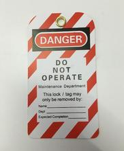 100 pçs/lote, etiqueta de bloqueio de inspeção à prova dwaterproof água, cadeado tagout não operar etiqueta de manutenção