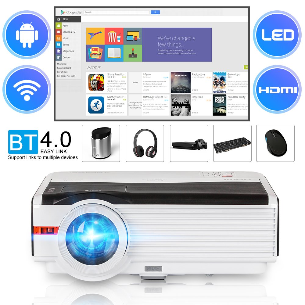 CAIWEI Full HD LED TV Android Projector WIFI Home Theater Smart Projector Blueto