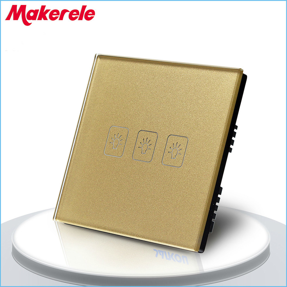 Free Shipping 3 gang 1 way Remote Control Touch Switch UK Standard Remote Switch Gold Crystal Glass Panel+LED Wall Light free shipping us au standard touch switch 2 gang 1 way control crystal glass panel wall light switch kt002us
