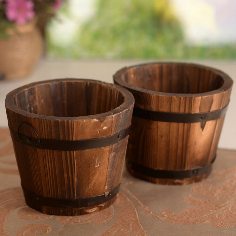 Primaries Small Wooden Ornamental Rustic Small Barrel Flower Pot Flower Basket Flower Bowyer For Wedding Home Decoration On Sale