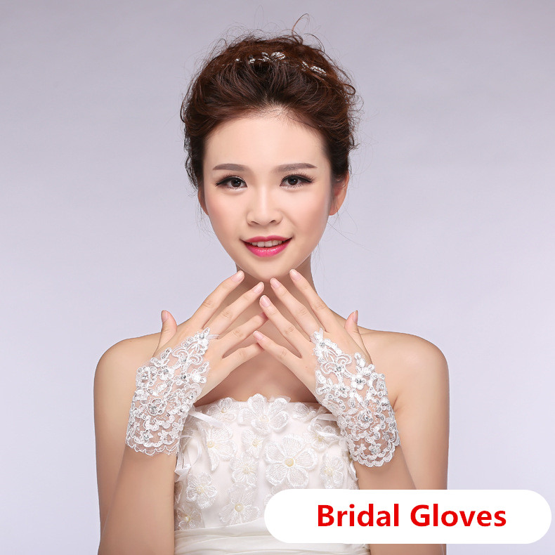 New Lace white Fingerless Short Paragraph Rhinestone Lace Gloves Fashion High Quality
