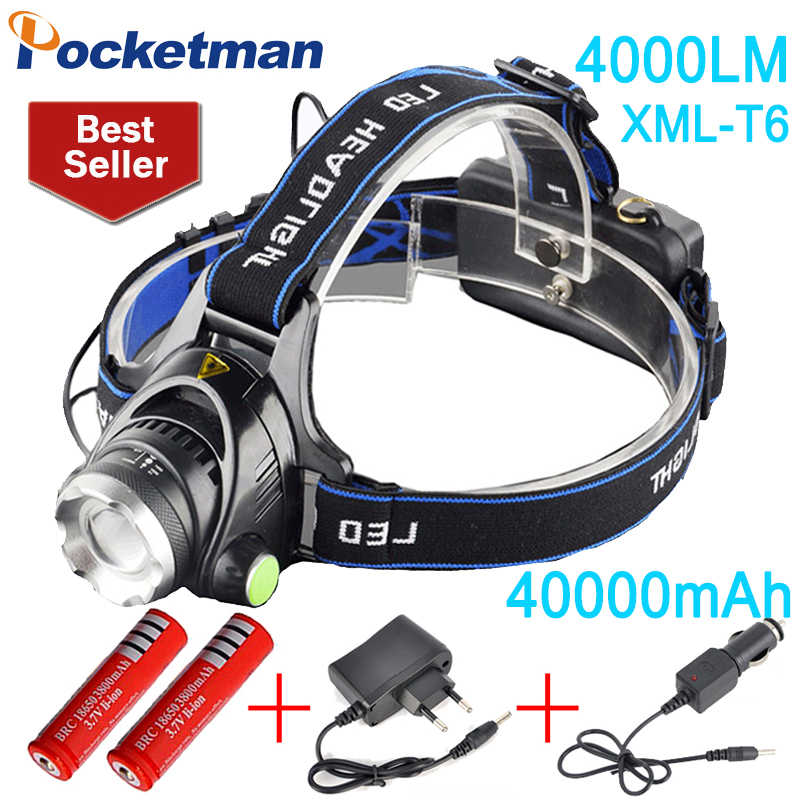 4000 lumens led headlamp cree xml t6 Headlights Lantern 3 mode waterproof torch head 18650 Rechargeable