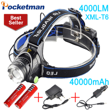 4000 lumens led headlamp cree xml t6 Headlights Lantern 3 mode waterproof torch head 18650 Rechargeable Battery Newest