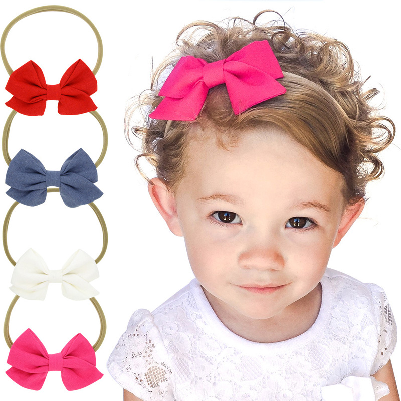 4pcs/set Lovely Girls Elastic Nylon Headband with Solid Color Fabric Bow Hairband in Kids Hair Accessories Headdress 2015 kids hair accessories lovely polka dot fabric boutique hair bow shair clip girls hair accessories headdress meng