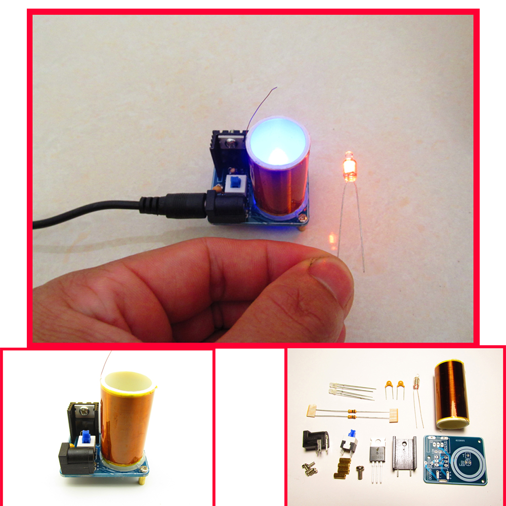 Newest BD243 Mini Tesla Coil Kit Magic Props DIY Parts Empty Lights Technology