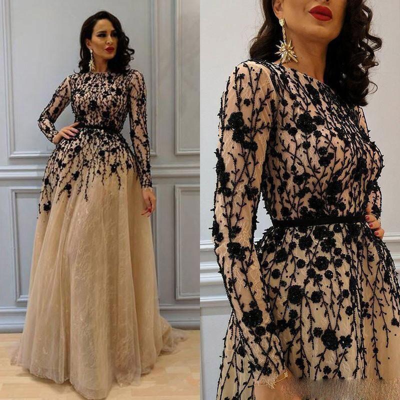 2018 wunderschöne Perlen Prom Kleider mit Langen Ärmeln Spitze Arabisch Formale Kleid Champagne Elegante Frauen Kleid Abendkleid Plus Größe