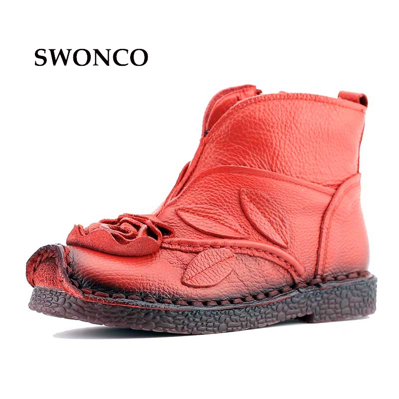 Women's Boots Ankle Boot Genuine Leather Lady Soft Bottom Shoes Women Boot Leather Ankle Boots Flower Retro Handmade Shoes huizumei new genuine leather women s boots autumn and winter shoes retro handmade round toe soft bottom rubber ankle ladies boot