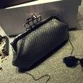 Fashion personality punk skull ring woven stripe pu leather clutch evening bag chain shoulder bag ladies handbag purse wallet