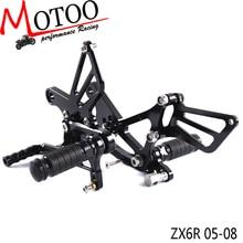 Полный ЧПУ алюминиевый мотоцикл регулируемая подножка Подножка педаль Rearsets задние наборы подножки для Kawasaki ZX6R ZX-6R 2005-2008