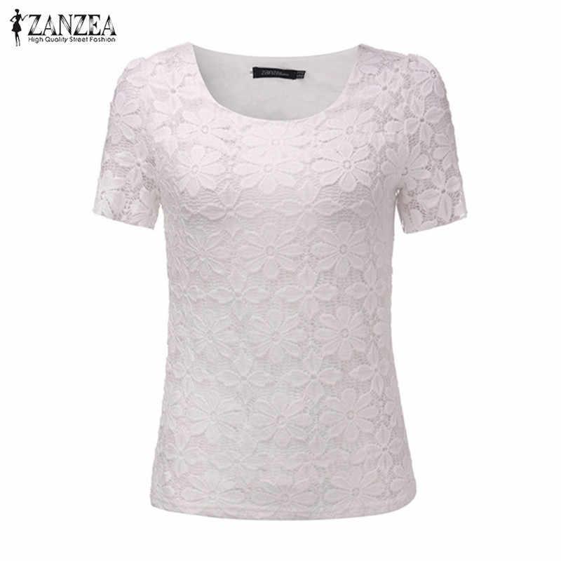 2018 Dames Bloemen Kant Elegante Zomer Vrouwen Sexy Blouses Shirts Casual Korte Mouw Solid Tee Tops Plus Size Blusas Femininas
