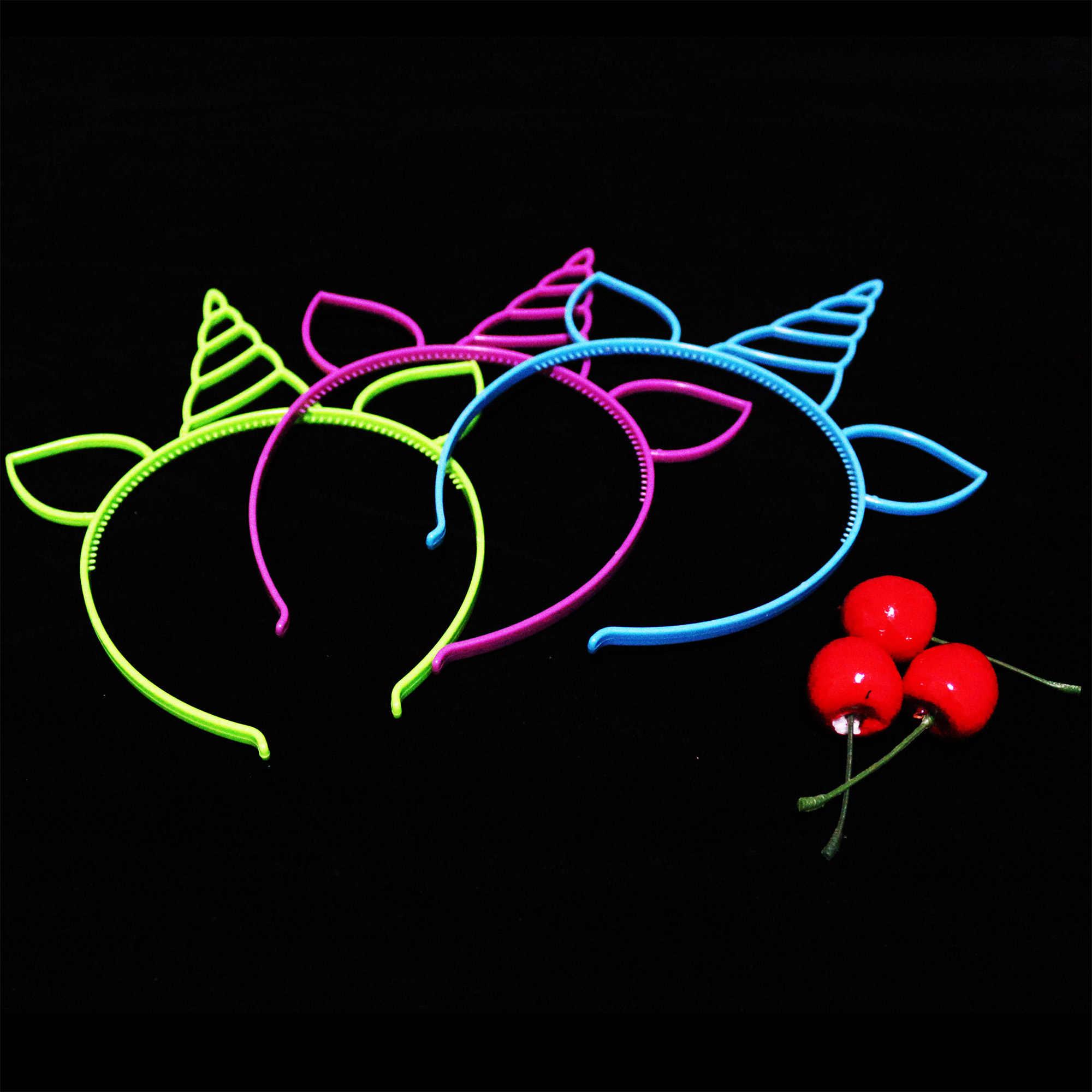Unicórnio Cabeça Decoração Do Partido Festival Hairband Da Orelha de Plástico Cor de Doces Favorece Fontes Do Partido Do Chuveiro Do Bebê Crianças