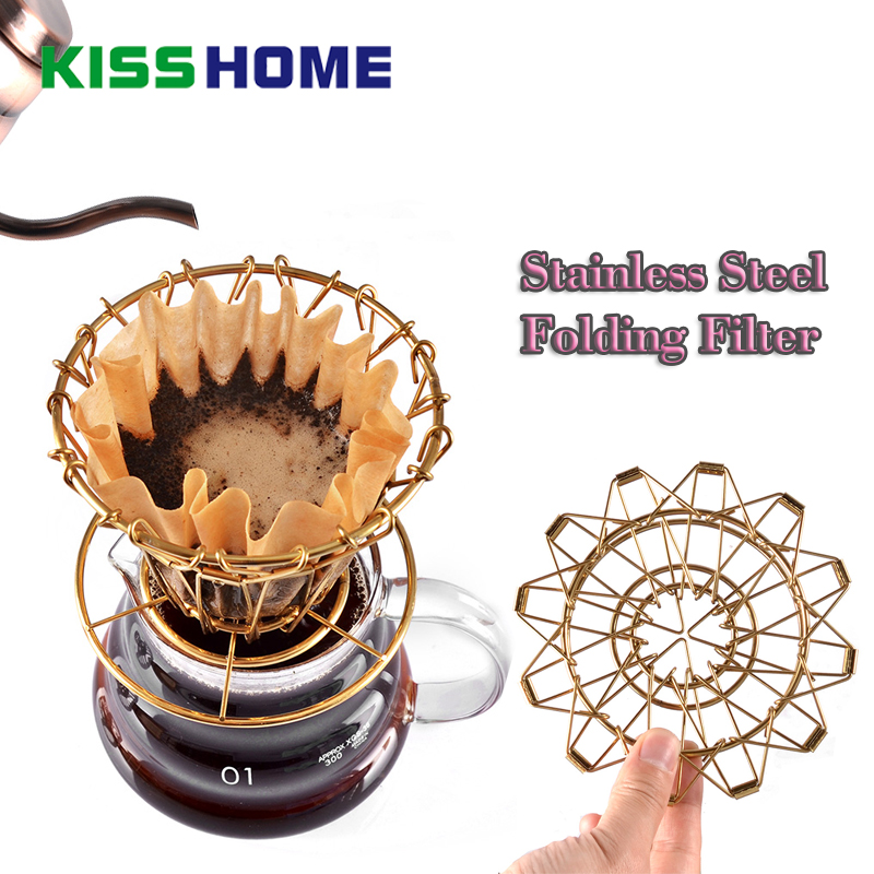Espresso Coffee Filter Net Stainless Steel Collapsible Cup Portable Cakecup Paper Dripper Accessories