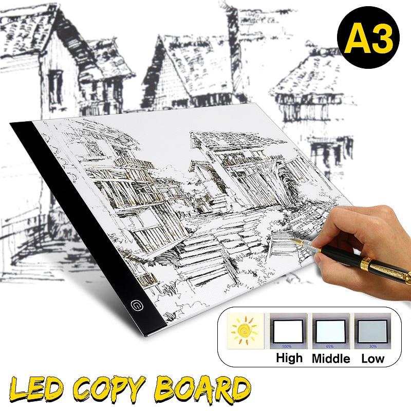A3 LED Dessin Pad Tablet Dessin Pad Boîte Conseil Dessin Traçage Tracer Copie Conseil Table Pad Led Lumière Pad Copie conseil Pochoir