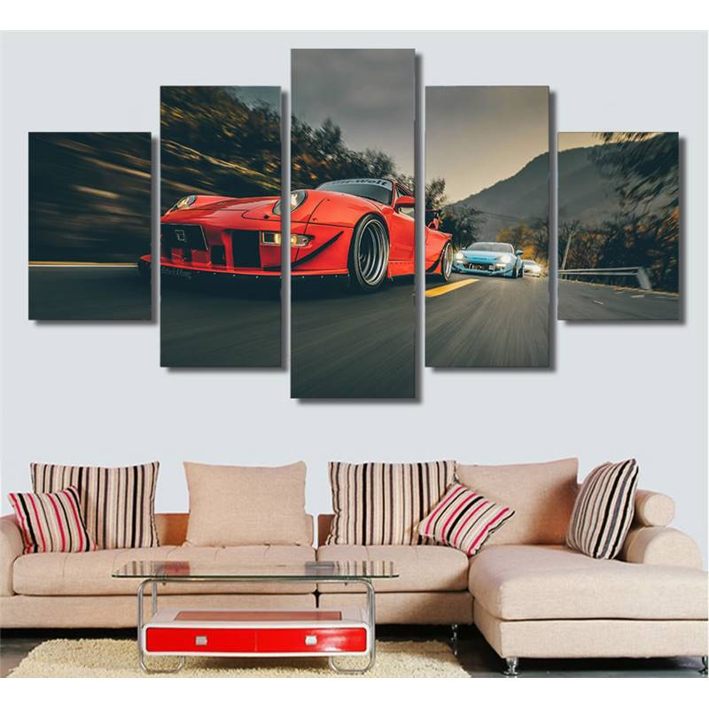 Canvas Wall Art Pictures Printed Poster Modern Living Room Decor 5 Pieces Red Luxury Sports Car Drift Painting -105225-JBO
