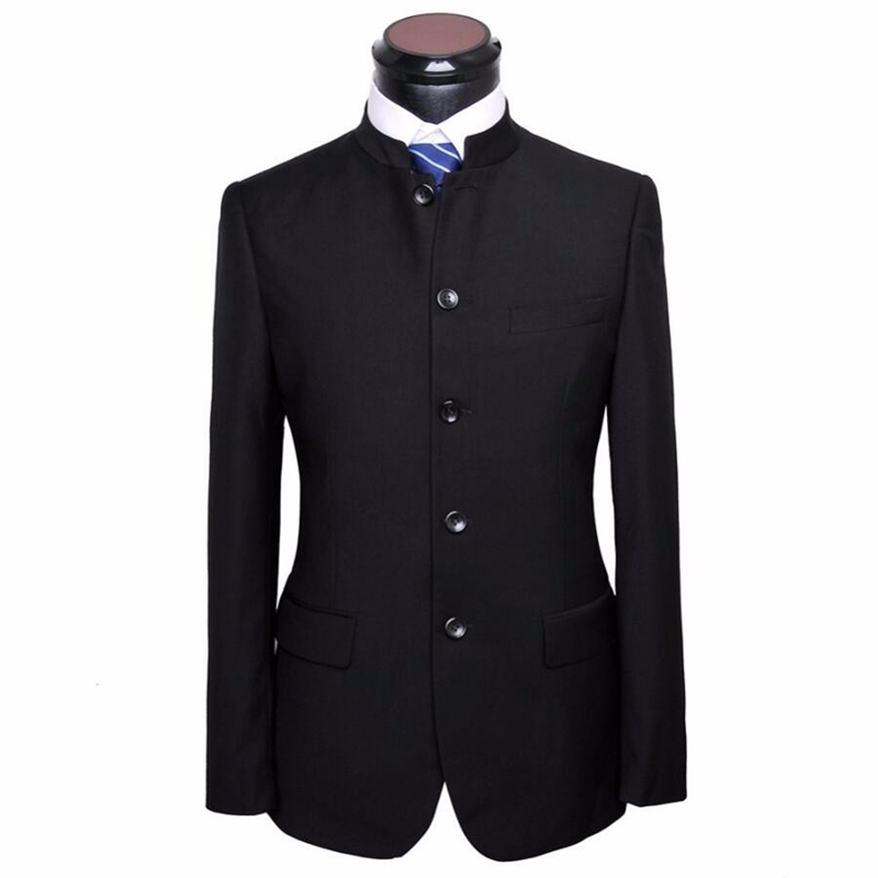 HB029 Black wedding groom handsome suit jacket fashion popular style Mandarin collar custom made quality men jacket with pants