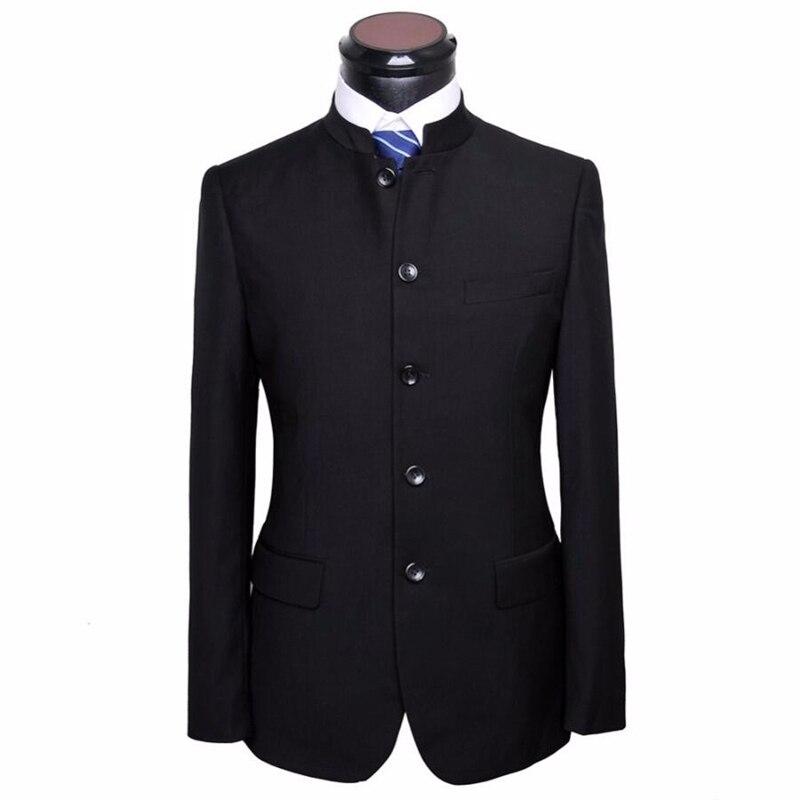 HB029 noir mariage marié beau costume veste mode populaire style Mandarin col personnalisé qualité hommes veste avec pantalon
