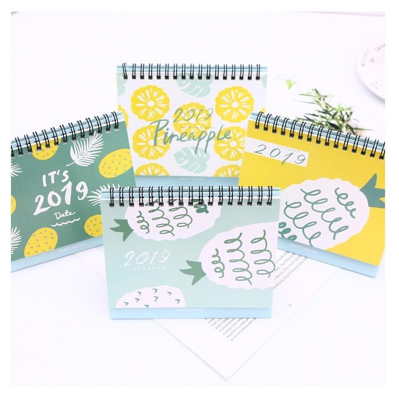 2019 Creative Pineapple Fruit Series DIY Desktop Calendar Agenda Organizer Daily Schedule Planner 2018.10~2019.12 2019 bronzing creative desk vertical calendar agenda organizer daily schedule planner 2018 10 2019 12