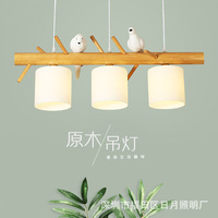 Скандинавский деревянный подвесной светильник птица 3 головы ресторан японские твердые деревянные лампы