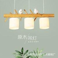 Nordic Деревянный подвесной светильник птица 3 головы Ресторан японской твердой древесины лампы
