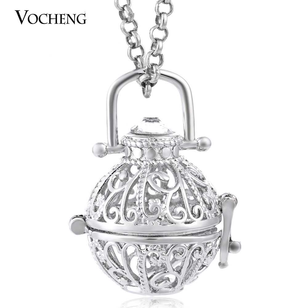 10 teile/los Vocheng Baby Chime Halskette Parfüm Diffusor Medaillon 3 Farben Anhänger Schmuck mit Edelstahl Kette VA-192 * 10